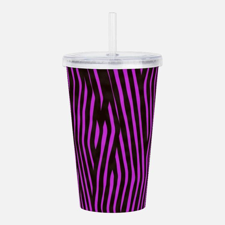 Purple Zebra print (br Acrylic Double-wall Tumbler