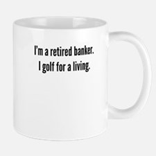 Retired Banker Golfer Mugs