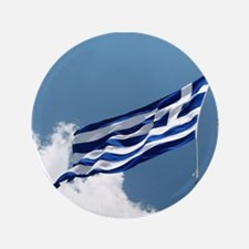 Greek Flag In The Breeze... Button
