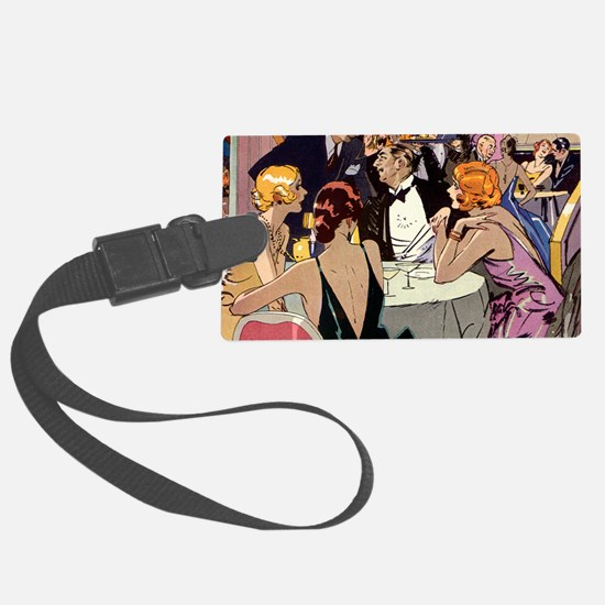 Vintage Art Deco Cocktail Party Luggage Tag