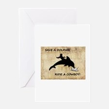 dolphin cowboy Greeting Cards
