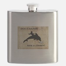 dolphin cowboy Flask