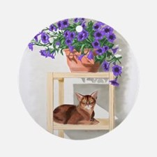 Abyssinian Cat With Petunias Ornament (Round)
