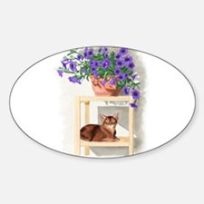Abyssinian Cat With Petunias Decal