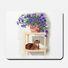Abyssinian Cat With Petunias Mousepad