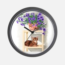 Abyssinian Cat With Petunias Wall Clock