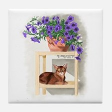 Abyssinian Cat With Petunias Tile Coaster