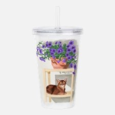 Abyssinian Cat With Petunias Acrylic Double-wall T