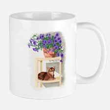 Abyssinian Cat With Petunias Mugs