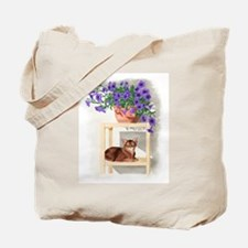 Abyssinian Cat With Petunias Tote Bag