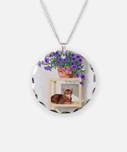 Abyssinian Cat With Petunias Necklace