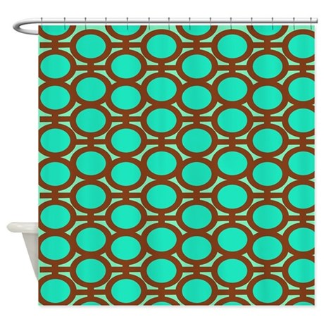 brown and aqua eyelets shower curtain by polkadotpattern