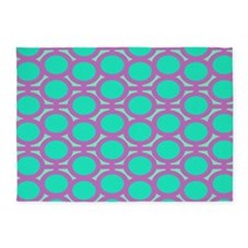 Purple and Teal Eyelets 5'x7'Area Rug
