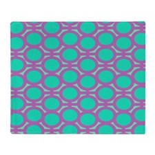 Purple and Teal Eyelets Throw Blanket