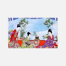 3 Geisha Musicians, Kimonos ! Area Rug