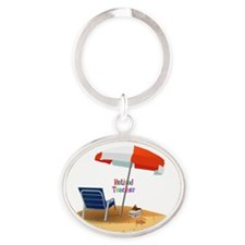 Cute Beach chair Oval Keychain