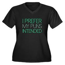 I Prefer My Puns Intended Women's Plus Size V-Neck