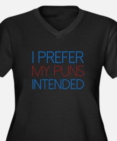 I Prefer My Puns Intended Women's Plus Size V-Neck