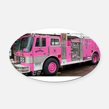 Pink Fire Truck (real) Oval Car Magnet
