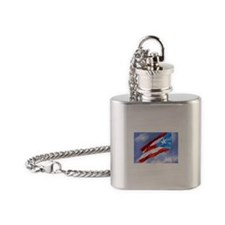 Puerto Rico Flag (abstract style) Flask Necklace
