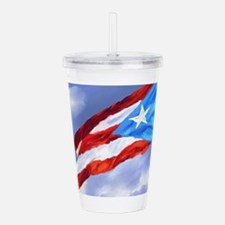 Puerto Rico Flag (abst Acrylic Double-wall Tumbler