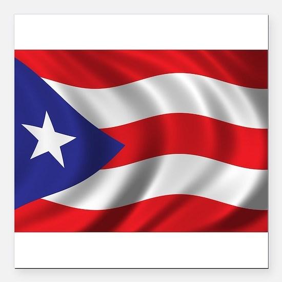 """Puerto Rico Flag (bright Square Car Magnet 3"""" x 3"""""""