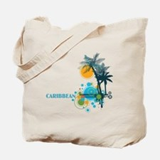Palm Trees Sun and Circles Tote Bag