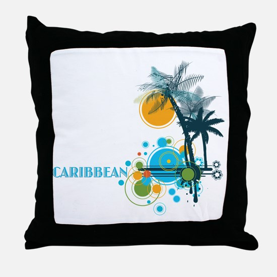 Palm Trees Sun and Circles Throw Pillow