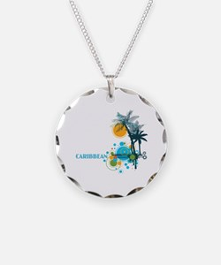 Palm Trees Sun and Circles Necklace