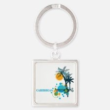 Palm Trees Sun and Circles Square Keychain