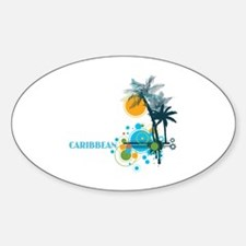 Palm Trees Sun and Circles Sticker (Oval)