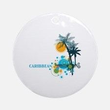 Palm Trees Sun and Circles Round Ornament