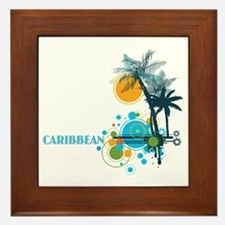 Palm Trees Sun and Circles Framed Tile