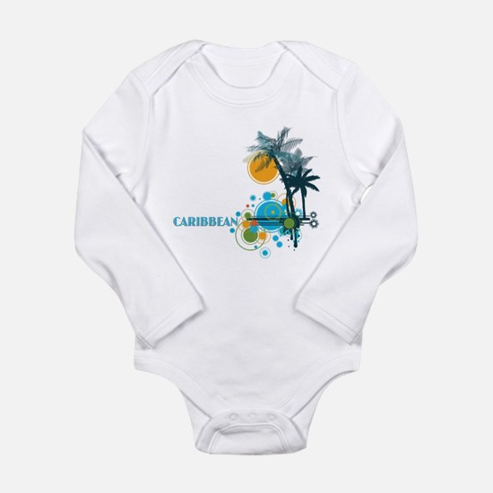 Palm Trees Sun and Circles CARIBBEAN Body Suit
