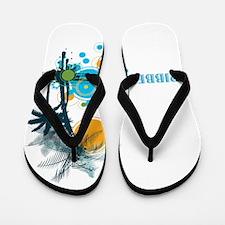 Palm Trees Sun and Circles CARIBBEAN Flip Flops