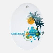 Palm Trees Sun and Circles CARIBBE Ornament (Oval)