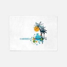 Palm Trees Sun and Circles CARIBBEA 5'x7'Area Rug