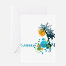 Palm Trees Sun and Circles CARIBBEA Greeting Cards