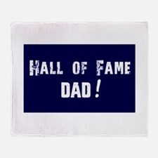 Hall of Fame Dad Blue White Throw Blanket