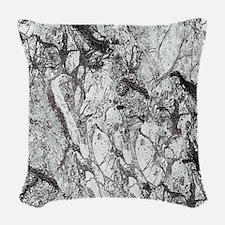 Black and White Marble Woven Throw Pillow