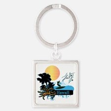 Sun Surf and Palms Tropics Square Keychain