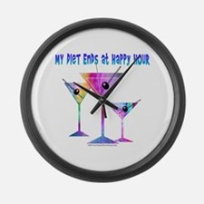 My DIET ENDS at Happy Hour! Large Wall Clock
