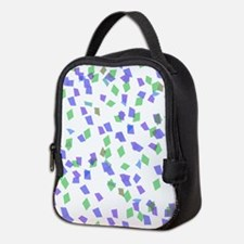 Blue and Green Confetti Neoprene Lunch Bag
