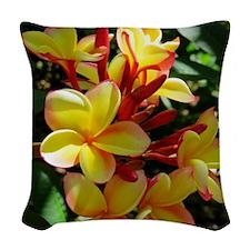 Hawaiian Plumeria Woven Throw Pillow