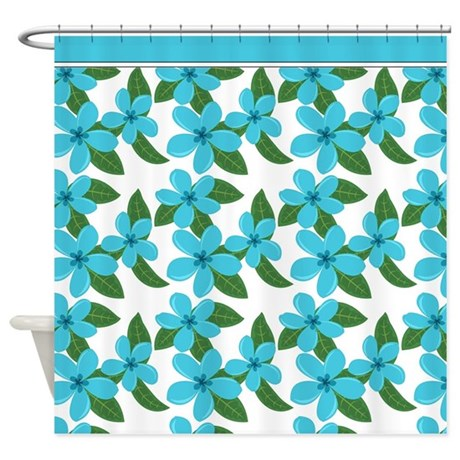 Plumeria Blossoms AQUA On WHITE Shower Curtain By