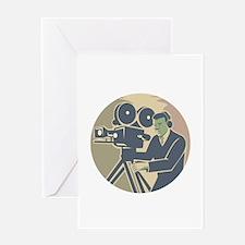 Cameraman Moviemaker Vintage Camera Retro Greeting