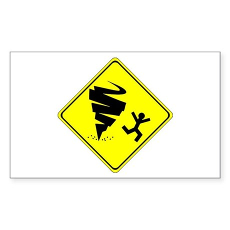 Warning Tornado Rectangle Sticker