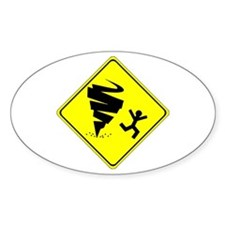 Warning Tornado Oval Decal