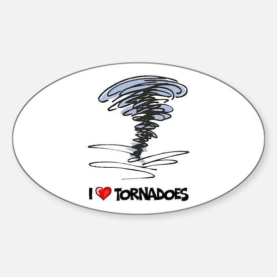 I Love Tornado Oval Decal