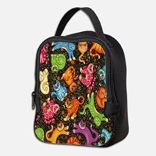 Catty Multi Cat Black Neoprene Lunch Bag